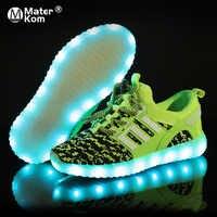 Tamaño 25-37 zapatos LED para niños niñas cargador USB Schoenen niños Chaussure Enfant zapatilla de deportiva brillante luminosa con suela de luz