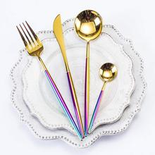Rainbow Flatware Set Luxury 4-Piece Place Setting Stainless Steel Steak Knife Fork Spoon Cutlery Set Service for 1 Tableware