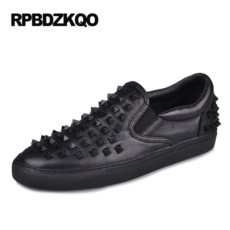 Luxury Fashion Men Shoes Brand Hip Hop Stud White New Sneakers Dandelion Black Real Leather High Quality Rivet Skate Spring Hot valstone 2018 men leather casual shoes hip hop gold fashion sneakers silver microfiber high tops male vulcanized shoes sizes 46