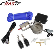 RASTP-2.5inch Stainless Steel Exhaust Control Valve Vacuum Actuator Open Style Wireless Remote Controller Set RS-BOV042 rastp 1 set new car vacuum exhaust cutout valve 2 5 63mm open style wireless remote controller set rs bov042