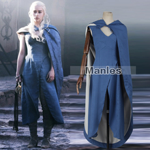 Game of Thrones Targaryen Daenerys Cosplay Costume The Unburnt Mother of Dragons Costume Blue Dress Female Halloween Adult Women