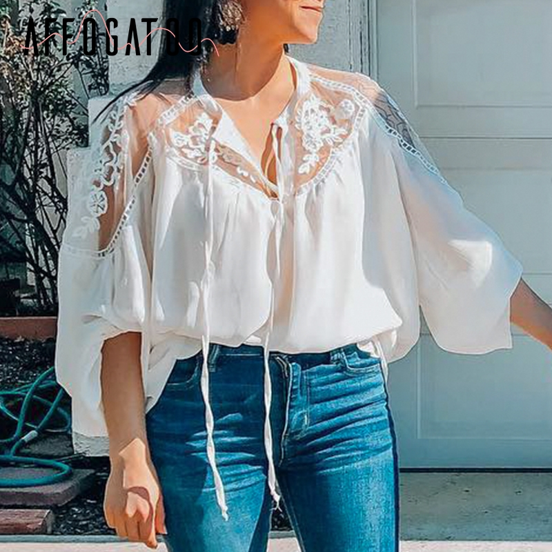Affogatoo Casual chiffon women summer white   blouse     shirt   Elegant lace embroidery tops Vintage lace up long sleeve ladies tops