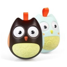 2pcs 0-12 Months large owl tumbler Baby Toy Ball Rattles Develop Intelligence Toys Plastic Hand Bell Rattle