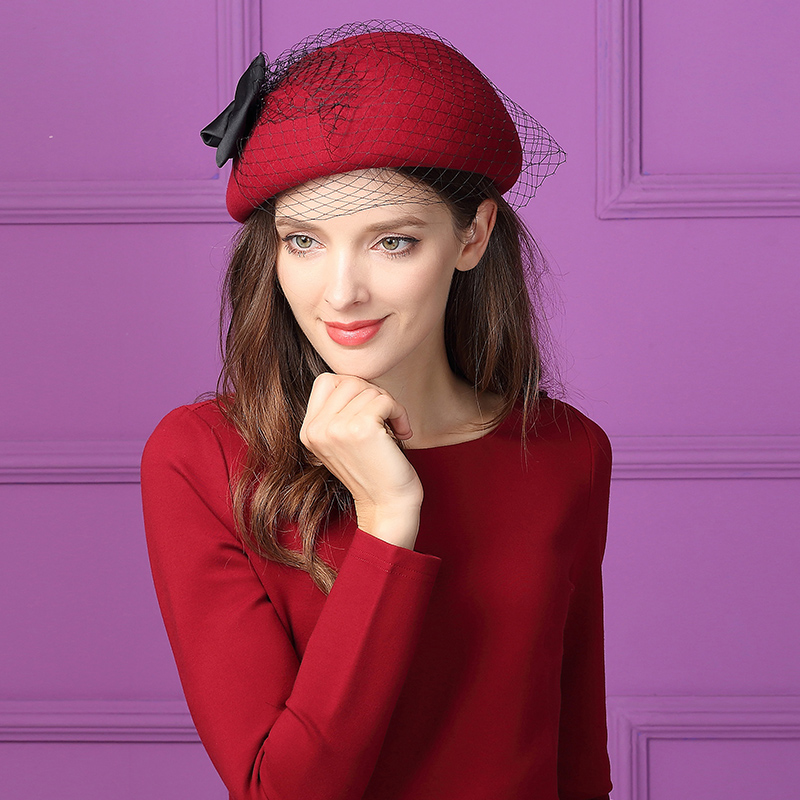 100% Wolle Kirche Kuppel Hut Frauen Vintage Fedoras Hut Erwachsene Winter Derby Mode Woolen Schleier Kappe Frauen Berets Hut B-8799