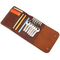 Genuine Leather Car Key Holder Crazy Horse Leather Key Organizer Card Holder Vitage Key Case Wallet Key Bag Coin Bags Brown 50