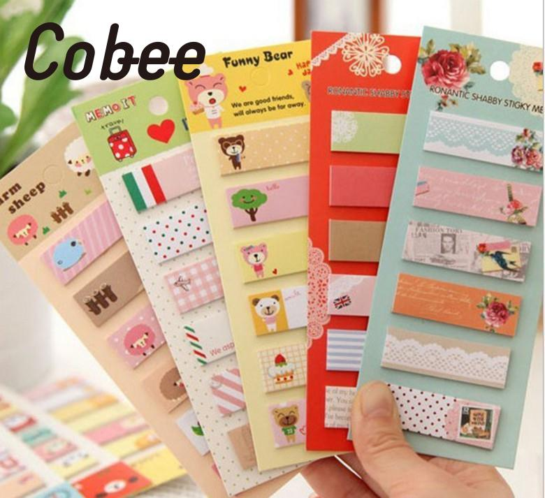 Cobee Cute Post-It Bookmark Marker Memo pad Cartoon Label Paper Sticker Office Post Attach Memo Tags Test Note Table Words