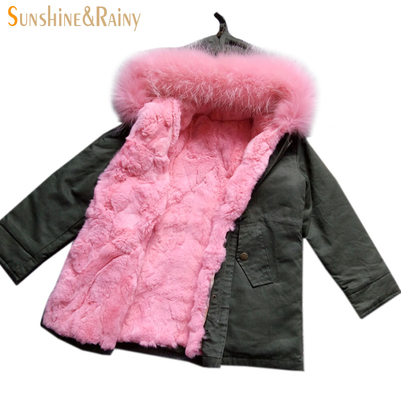 Fashion Girls Fur Coat Baby Girls Outerwear Rabbit Fur Liner Windbreaker Kids Coats & Jackets For Cold Winter Warm Coat For Boys