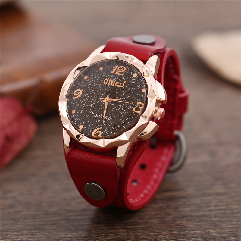 Ladies Watches Casual Watch For Woman Black Starry Sky Rose Gold Color Big Glass Dial Minimalist Quartz Watch Women Montre Femme