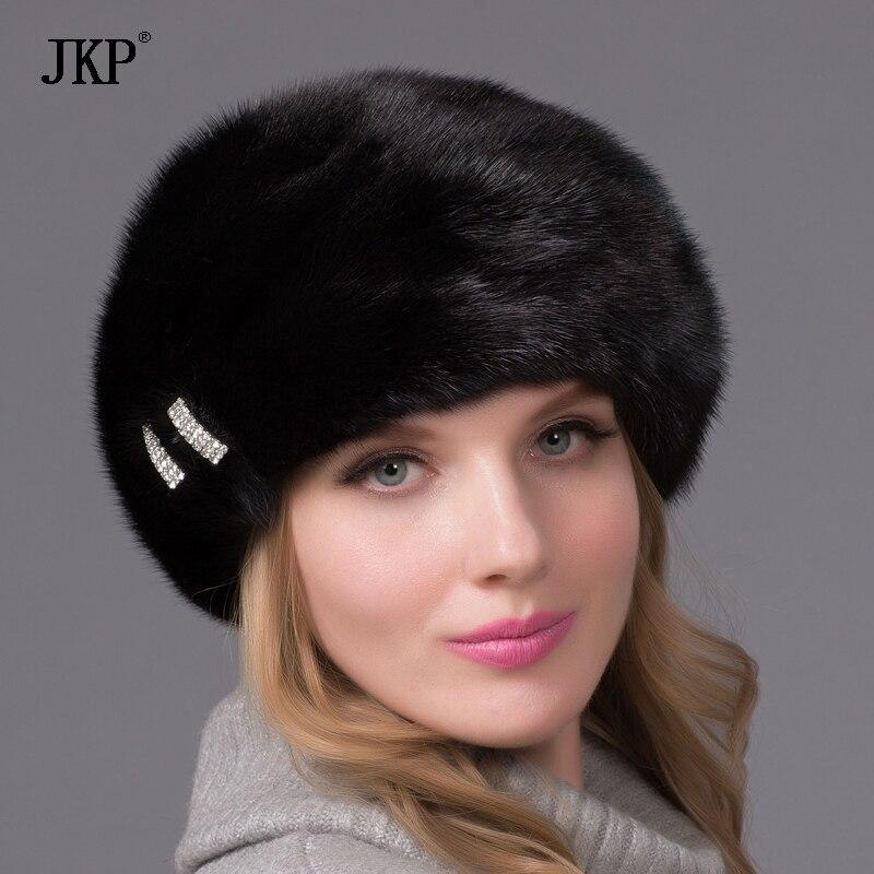 JKP 2018 новые женские действительно новые модные Hat 100% норки качество элегантная шляпа берет русская меховая шапка DHY 52