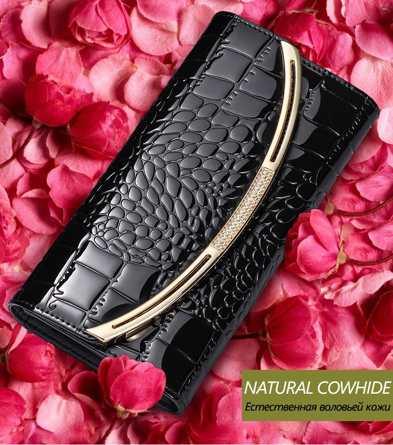 Большие емкость натуральная кожа женщины'ы кошельки мода лакированная кожа Кошелек женский роскошный клатч женский 3 раза воловьей кожи бумажник
