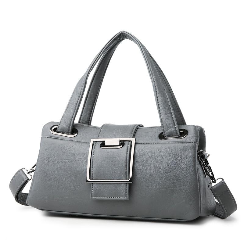 2019 new shoulder bag female Europe and America gray soft ladies bag casual fashion bag hot