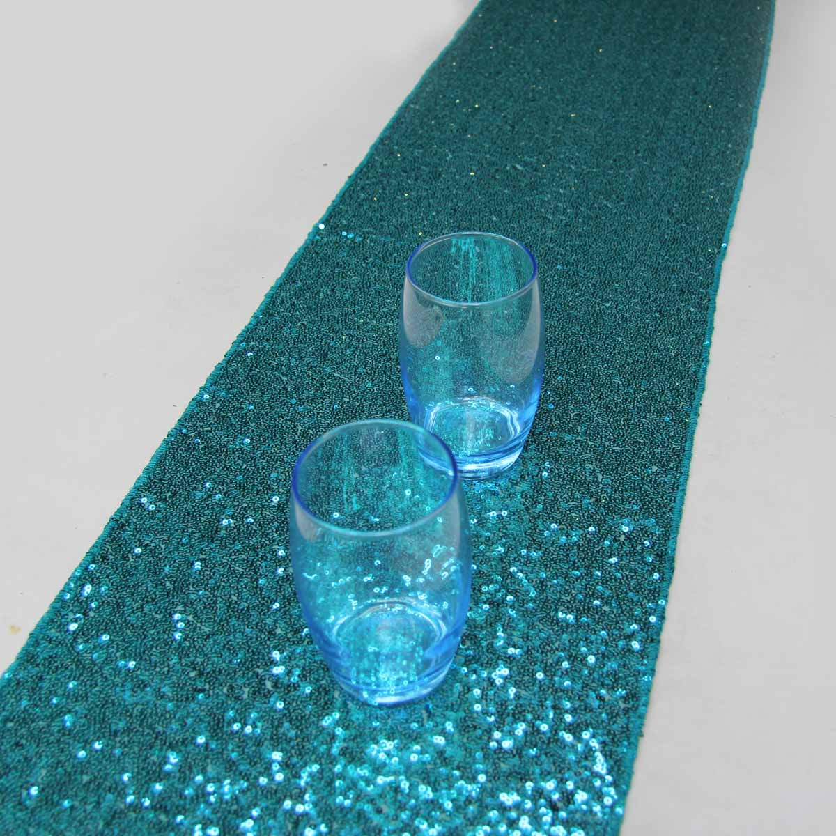 12u0027u0027x108u0027u0027/30cmx274cm Luxury Turquoise Sequin Table Runner Wedding Party  Table Decoration Solid Color Table Runners
