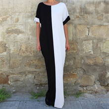 Preself Dresses Floor Length Patchwork Short Batwing Sleeves O Neck Loose Dress Women Casual Party Clothing Black White 2017