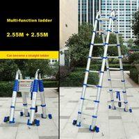 JJS511 Espessura Da Liga de Alumínio de Alta Qualidade Multi-função De Engenharia Escada Escada Casa Escada Dobrável Portátil (2.55 m + 2.55 m)