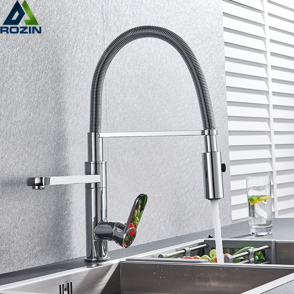 Chrome Pull Down Kitchen Faucet Deck Mounted 2 Swivel Spout Hot and Cold Kitchen Sink Tap