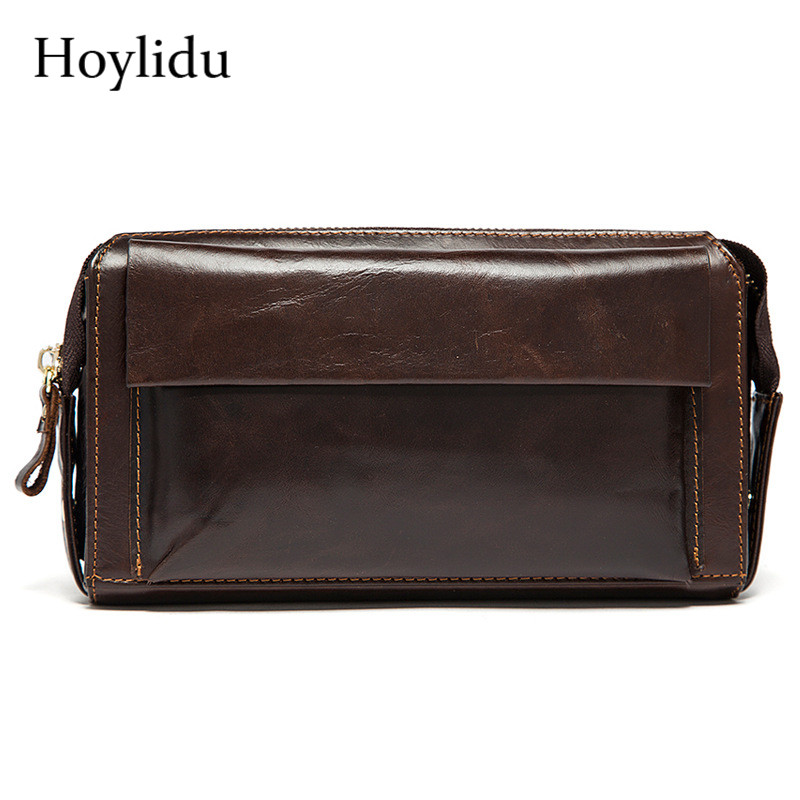 New Genuine Cow Leather Mens Zipper Wallet Businees Gifts Long Clutch Handbag Fashion Vintage Brown Large Capacity Coin Purse