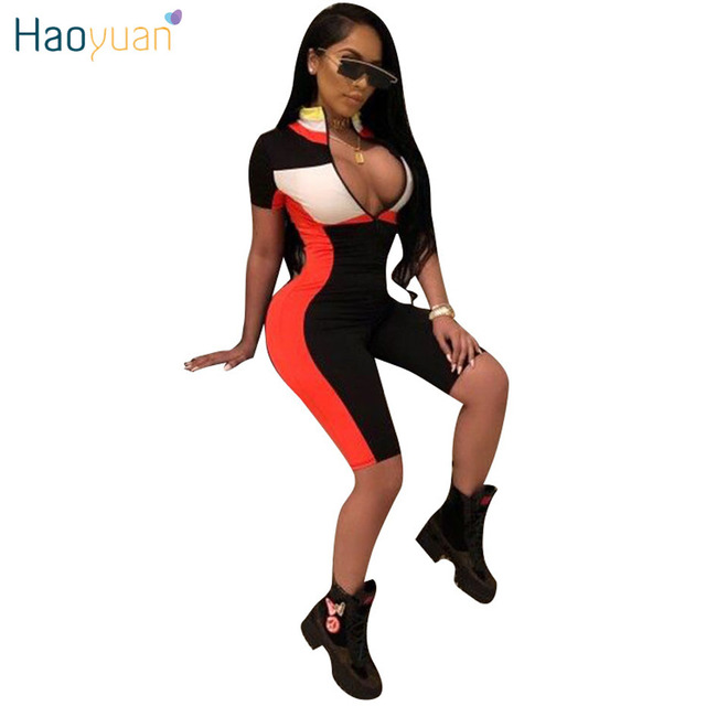 e317f84afe0 HAOYUAN Sexy Playsuit 2019 New Fitness Shorts Bodysuit Short Sleeve Casual  Body Summer Overalls Zip Up Rompers Womens Jumpsuit