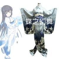 Kobiety Japoński Tradycyjny Niebieski Furisode Długi Kimono Dress Cosplay Costume outfit