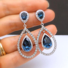 2019 Blue Crystal Rhinestone Earrings Silver Color Jewelry Fashion Female Bricons Wedding Big Drop Oorbellen For Women V5Q240(China)