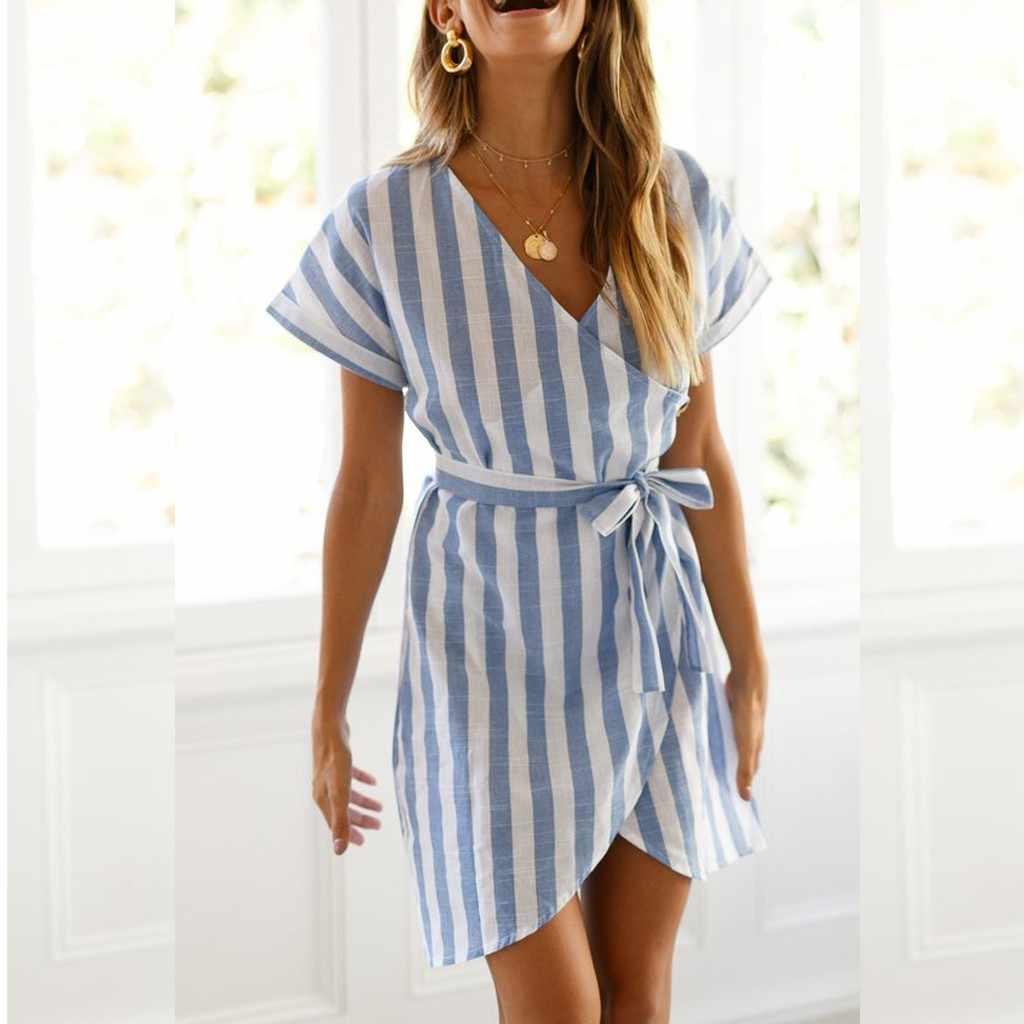 29b4b8d0efe71 Summer Dress Women New 2019 Fashion Vacation Party Holiday Short Sleeve V  Neck Wrap Mini Dress Ladies Striped Dress H19