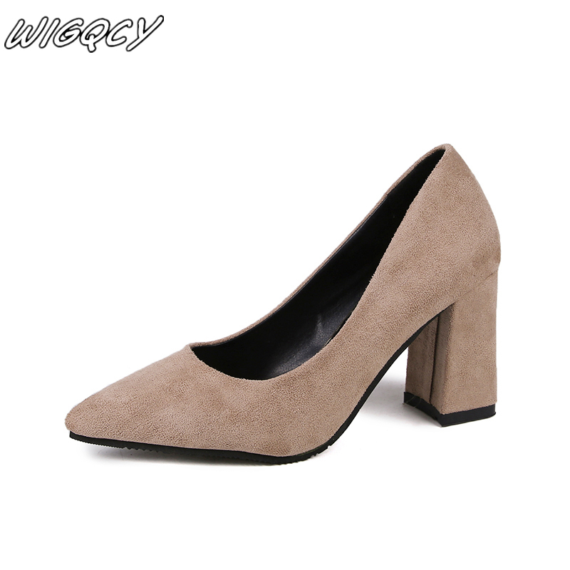 Summer Korean Women's Thick Heels Fashion Shallow Mouth Pointed Suede High Heels Set Foot Single Shoes Sexy Prom Wedding Shoes