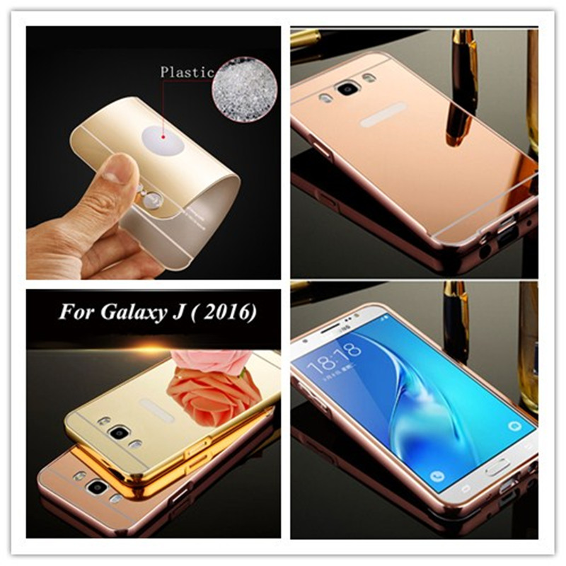 Luxury Plating Aluminum Frame+Acrylic Mirror Phone Case For Samsung Galaxy J120 J1 mini J3 J5 J7 Prime 2016 J510 J710 Back Cover