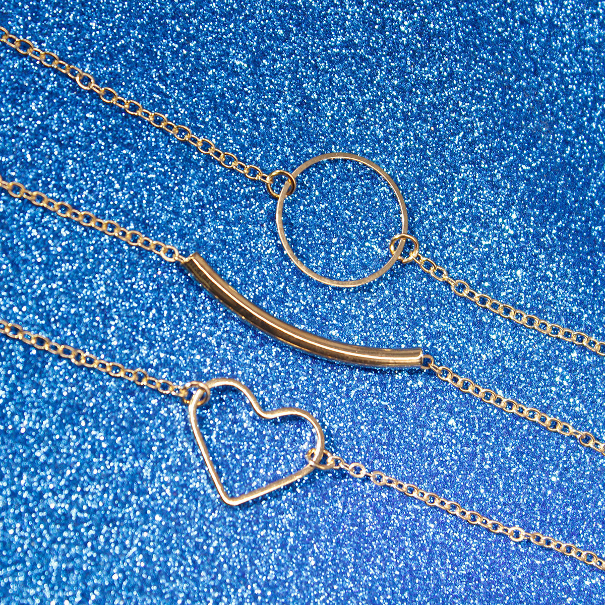 New Simple Love Heart Circle Clavicle Necklace Women Multilayer Handmade Chain Choker Necklace XL353 in Pendant Necklaces from Jewelry Accessories
