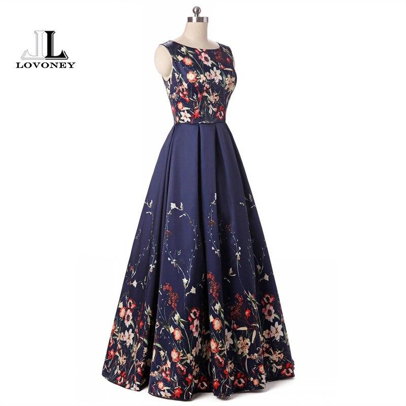 LOVONEY longues robes de soirée 2019 élégant imprimé Floral mode robe de soirée formelle robe de soirée robes à lacets dos HPS202 - 3