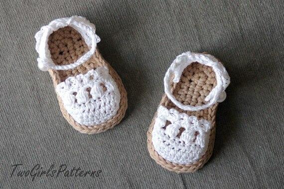 Patrón de ganchillo para bebé alpargata sandalias patrón de Crochet ...