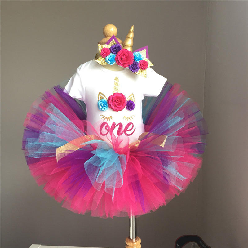 Flower Headband Dress For 1 Year Old Baby Girls Colorful Infant Toddler Kids Dress 1st Birthday Clothes Bebes Christening Gowns