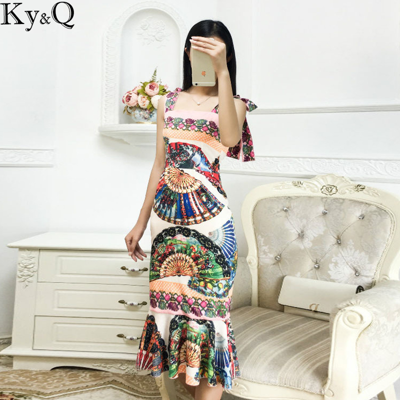 2018 Brand Summer Vintage Midi Dress Strap Women Sleeveless Fan Floral Printed Female Party Pencil Dress Long Vestidos Clothing-in Dresses from Women's Clothing    1