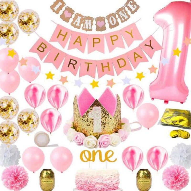 1 ensemble Rose Ballons Une Année Heureuse Fête D'anniversaire Transparent Confettis Ballon Fille D'anniversaire décoration de fête