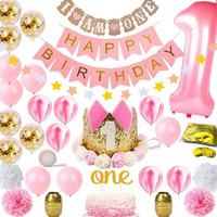 1Set Pink Balloons One Year Happy Birthday Party Transparent Confetti Ballon Girl Birthday Party Decoration