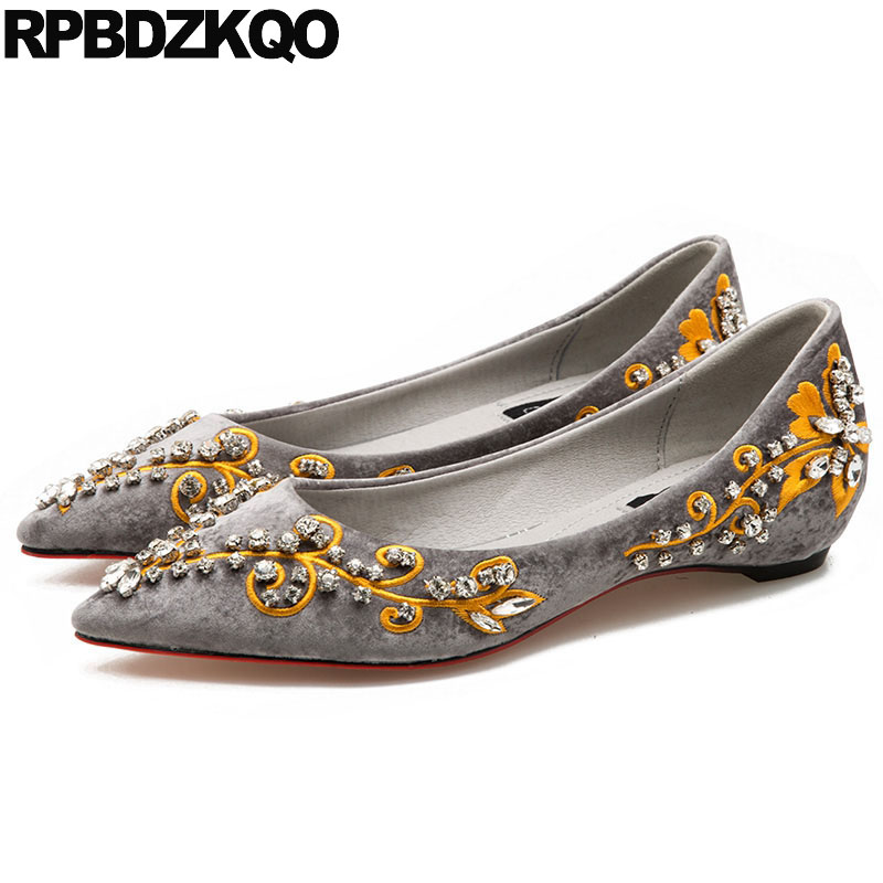 Hidden Crystal Gray Velvet Flats Chinese Embroidered Shoes Dress Embroidery Handmade Women Elevator Rhinestone Slip On Pointed