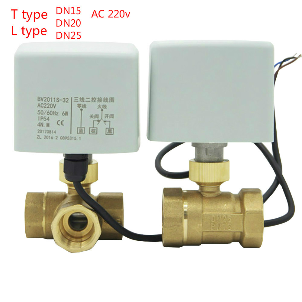 Buy DN15-DN25 Brass 3 Way 220V Motorized Ball Valve T TypeT L ype Electrical Valve for $35.72 in AliExpress store