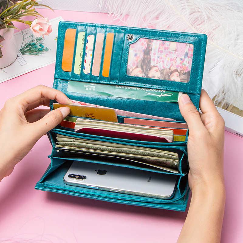Kontakt's HOT prawdziwej skóry kobiet portfel wysokiej jakości monety kiesy kobiet długi portfel luksusowej marki portfel posiadacza karty