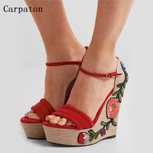 Women High Platform Fashion Wedge Summer Sandals Rope Weave Embroider Platform High Heel Elegant Female Wedding Party Shoes