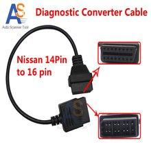 Высокое Качество Consult Мужчин OBD 2 OBDII DLC 16 Pin женщина Для Nissan 14Pin Интерфейс Автомобиля Диагностический Кабель Преобразователя Для Nissan