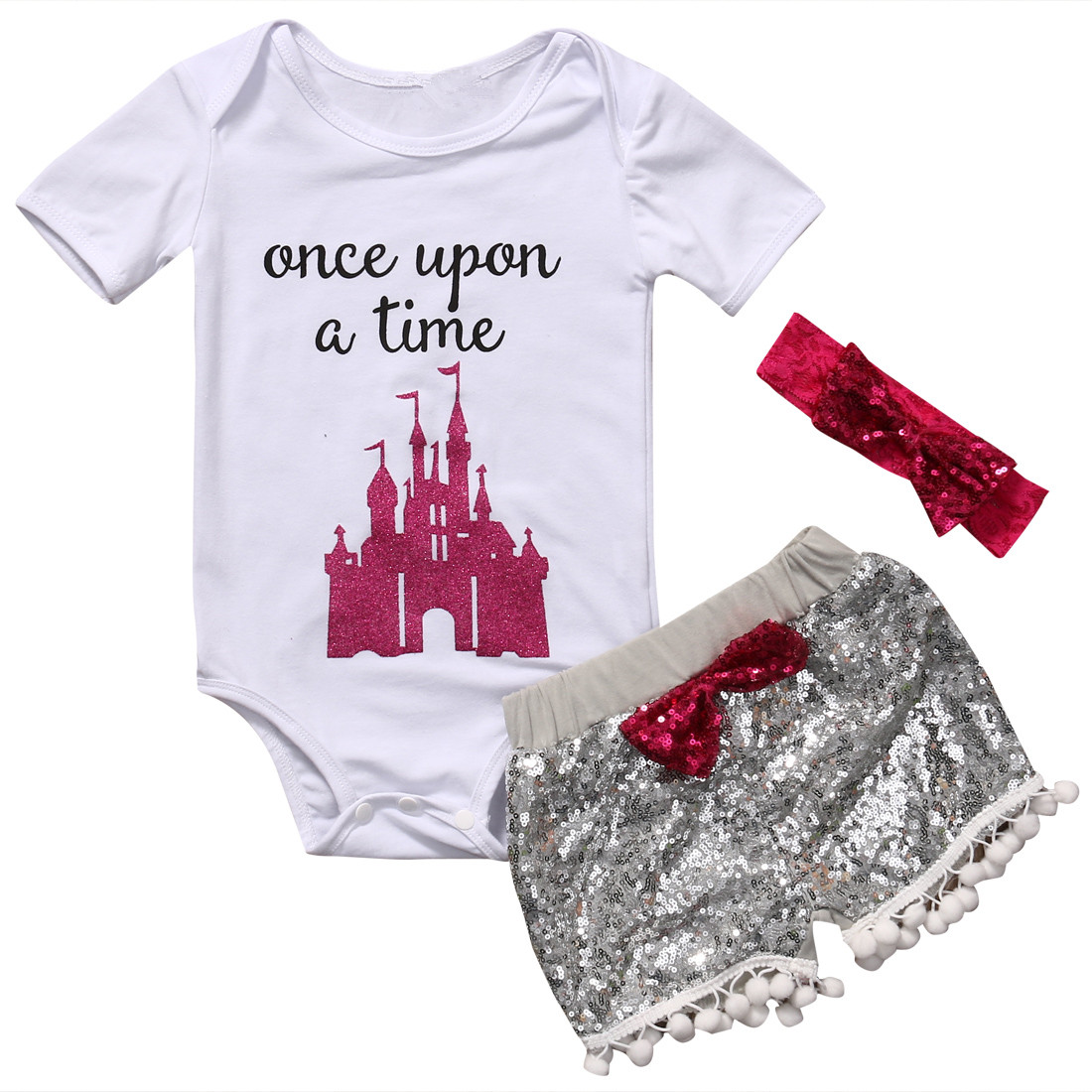 Newborn Baby Girl Clothes Top Short Sleeve Romper+Sequin Pants+Headband Suits Toddler Girls Cotton Sumemr Outfits