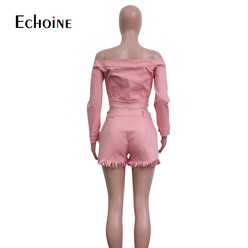 Image 5 - Summer Sexy Party 2 Piece Sets Women Outfits Long Sleeve Single Breasted Jeans Jacket Coat Tassel Two Piece Pink Shorts Suits-in Women's Sets from Women's Clothing