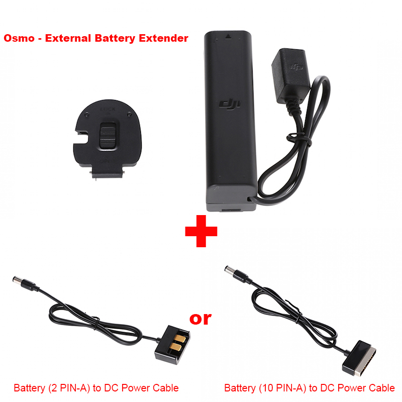 Original DJI Osmo Pro/RAW Parts External Battery Extender+DC Power Cable of DJI charger or DJI Phantom 4 3 Battery Free shipping