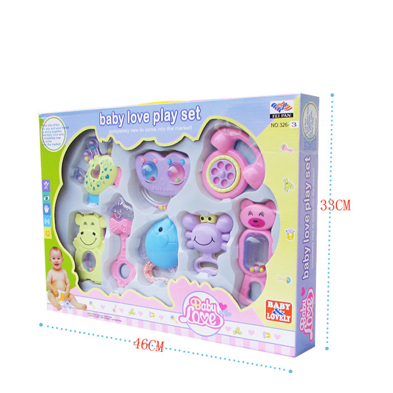 Купить с кэшбэком 8pcs Mixed Gift Box Baby Rattles Teether Set Early Development Toys 0-12 Months