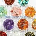 12 цветов 3D Nail Art Украшения Стразы Природный Нефритовый Камень Ногтей Поставки Инструмента