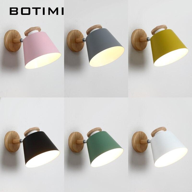 BOTIMI Nordique Réglable LED Appliques Murales Pour Chambre En Bois E27 Lecture Mur Applique Mur Monté Éclairage De Chevet En Métal