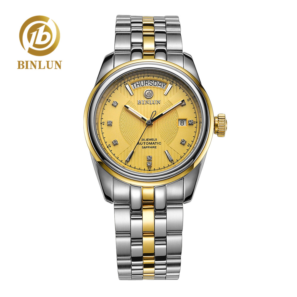 BINLUN Mechanical-Wristwatch Display Gold Waterproof Automatic Luxury Classic Week Diamond