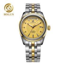 BINLUN Luxury 18K Gold Men's Automatic Classic Week Display Diamond Golden Dial Men Mechanical Watch Rolexable relogio masculino