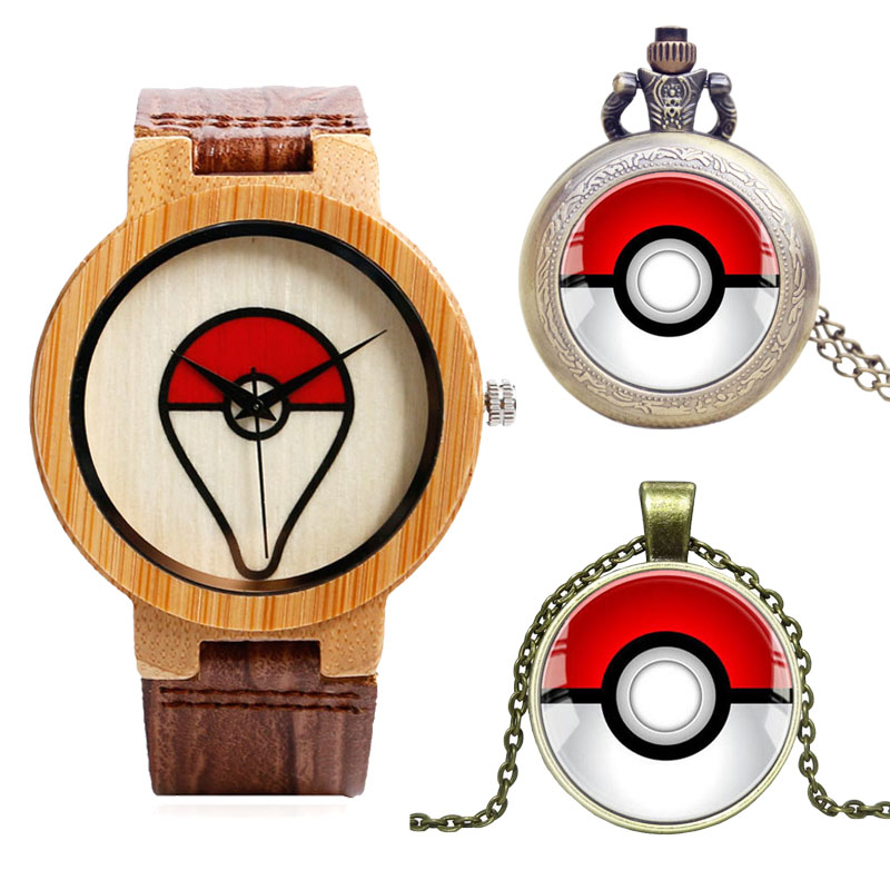 Christmas Gifts Pokemon Watches Pokeball Casual Natural Wood Quartz Watch Toys Pocket Watch Clock Necklace Women Men boys Gift top high quality fashion fullmetal alchemist quartz pocket watch sets with necklace ring set men women gifts box free shipping