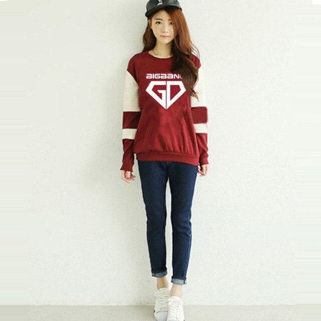 НОВЫЕ Моды для Женщин bigbang gd kpop красный воротник членов или VIP топ гуд толстовка d-lite k-pop плюс размер с капюшоном пальто Женщин Толстовки