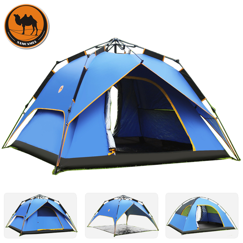 Hydraulic square top Fully-automatic outdoor camping tent tourism tents 3-4persons large family automatic camping tent