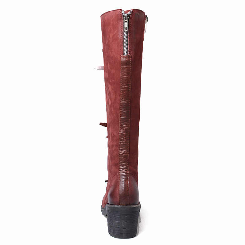 Зимние высокие сапоги красного и черного цвета, женская обувь с квадратным носком, на молнии, на толстом каблуке, пикантная обувь с перекрестной шнуровкой, с ремешком и пряжкой, из овечьей кожи, Женские сапоги Mujer